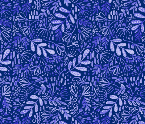 White on Blue Garden at Dusk Pattern fabric by kitcronk on Spoonflower - custom fabric