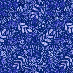 White on Blue Garden at Dusk Pattern