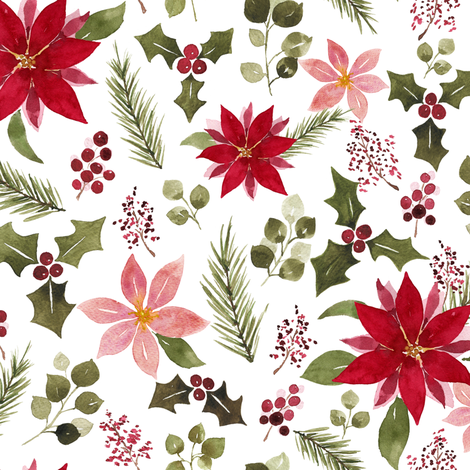 Poinsettia fabric by mintpeony on Spoonflower - custom fabric