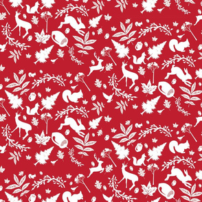 Red Woodland Fabric Rabbit Deer Fox