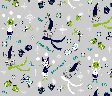 Kitty Birdie Snowday Yay Jammies fabric by sewindigo on Spoonflower - custom fabric