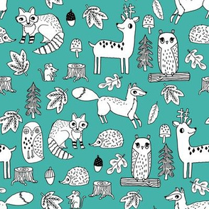 autumn animals // critters fox raccoon owls woodland kids design andrea lauren illustration andrea lauren fabric