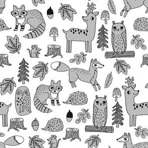 autumn critters // grey woodland creatures animals andrea lauren design andrea lauren fabric owl fox hedgie raccoons cute animals