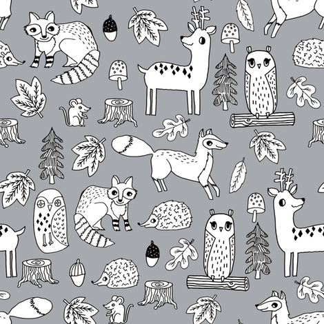 autumn critters // woodland animals andrea lauren fabric mouse owl hedgie fox fawn deer andrea lauren fabrics andrea lauren design fabric by andrea_lauren on Spoonflower - custom fabric