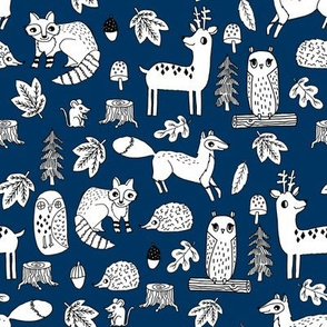 autumn critters // navy blue woodland animals cute deer fox raccoon cute navy blue