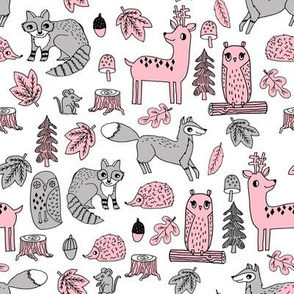 autumn animals // grey and pink autumn woodland animals fox raccoon cute animal creatures baby nursery design andrea lauren fabric andrea lauren design