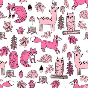 autumn critters // pink woodland animals baby nursery design owl woodland fabrics