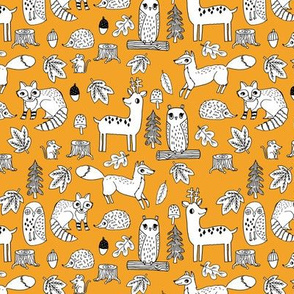 autumn animals // critters woodland fox deer raccoon woodland animals nursery fabric