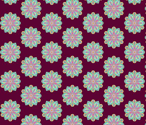 Spoonstar Flowers on Dark Plum fabric by rhondadesigns on Spoonflower - custom fabric
