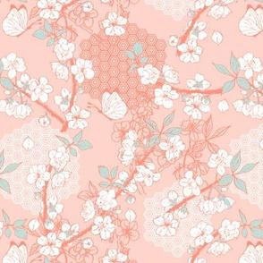 Kimono Pattern - Blossoms on Coral