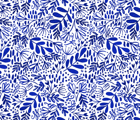 Garden at Dusk - Blue on White fabric by kitcronk on Spoonflower - custom fabric