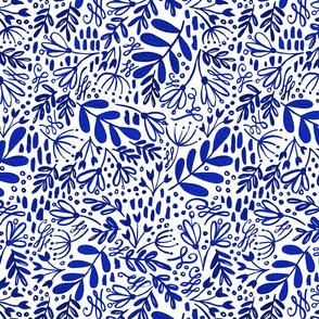 Garden at Dusk - Blue on White