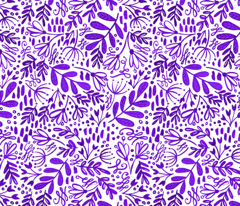 Garden at Dusk - Purple on White fabric by kitcronk on Spoonflower - custom fabric
