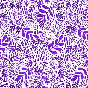 Garden at Dusk - Purple on White