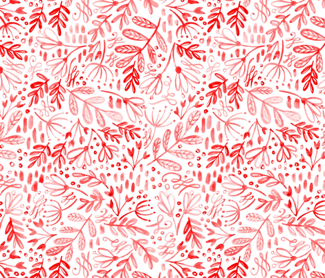 Garden at Dusk - Red on White fabric by kitcronk on Spoonflower - custom fabric