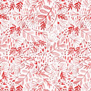 Garden at Dusk - Red on White