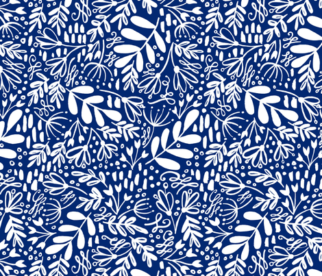 Garden at Dusk - White on Blue fabric by kitcronk on Spoonflower - custom fabric