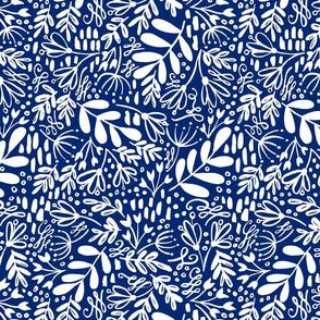 Garden at Dusk - White on Blue