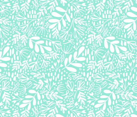 Garden at Dusk - White on Mint fabric by kitcronk on Spoonflower - custom fabric