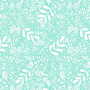 Garden at Dusk - White on Mint