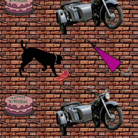 motorbike bmw 500 - painting effect fabric by stofftoy on Spoonflower - custom fabric