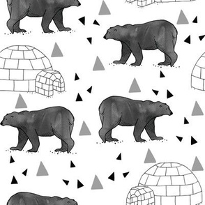 polar_bears___igloos__grey___black