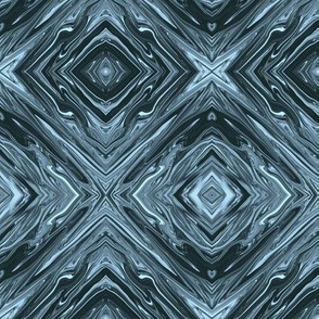 LSB - Liquid Steel Blue Marble, Diamonds on Point,  Small Scale