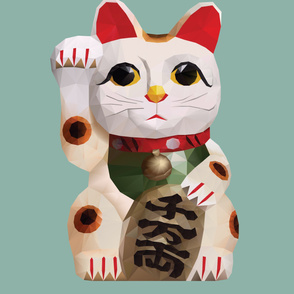 Fortune Cat (Maneki Neko) Polygon Art
