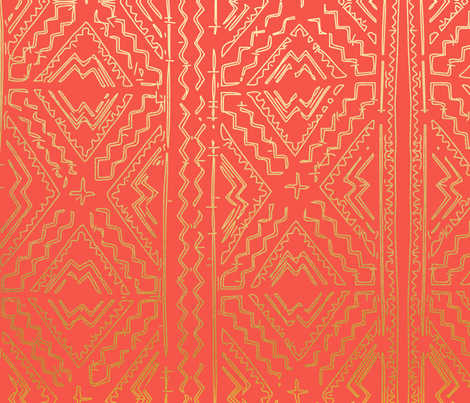 Coral Orange Clay Mudcloth Traditional African Mud cloth  with gold fabric by jenlats on Spoonflower - custom fabric