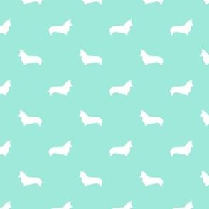 aqua corgi silhouette dog fabric cute dog design pets fabric for sewing