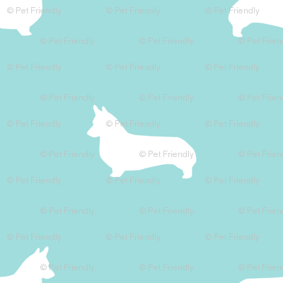 blue tint corgi silhouette dog fabric cute dog design pets fabric for sewing