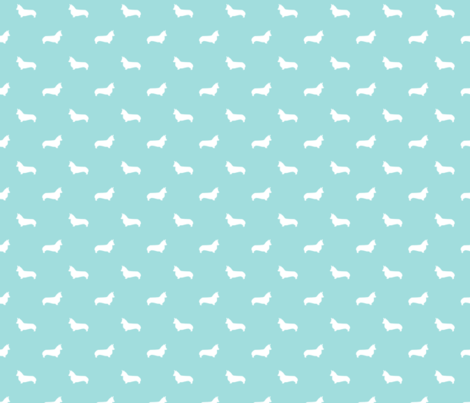 blue tint corgi silhouette dog fabric cute dog design pets fabric for sewing fabric by petfriendly on Spoonflower - custom fabric