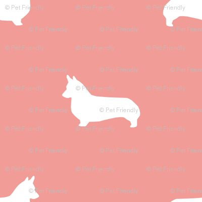 sweet pink corgi silhouette dog fabric cute dog design pets fabric for sewing