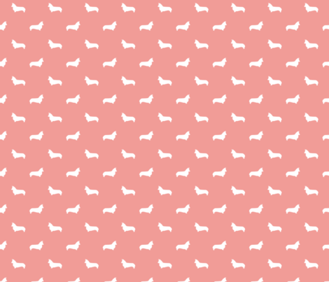 sweet pink corgi silhouette dog fabric cute dog design pets fabric for sewing fabric by petfriendly on Spoonflower - custom fabric