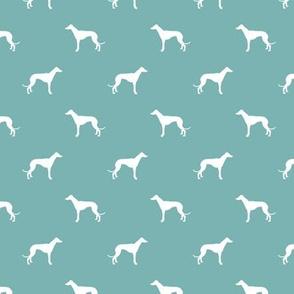 marine blue greyhound dog silhouette fabric