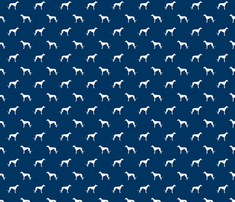 navy blue greyhound dog silhouette fabric fabric by petfriendly on Spoonflower - custom fabric