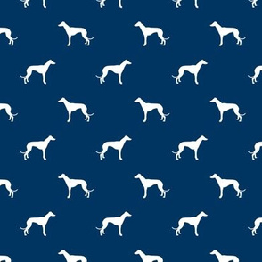 navy blue greyhound dog silhouette fabric