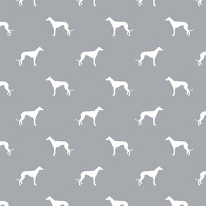 quarry grey greyhound dog silhouette fabric