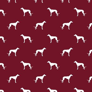 ruby red greyhound dog silhouette fabric