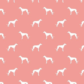 sweet pink greyhound dog silhouette fabric