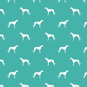 turquoise greyhound dog silhouette fabric