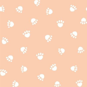apricot paw print fabric, pet fabric, dog fabric, cat fabric