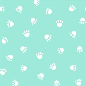 aqua paw print fabric, pet fabric, dog fabric, cat fabric