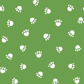 asparagus green paw print fabric, pet fabric, dog fabric, cat fabric