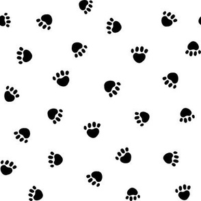 white and black paw print fabric, pet fabric, dog fabric, cat fabric