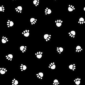 black and white paw print fabric, pet fabric, dog fabric, cat fabric