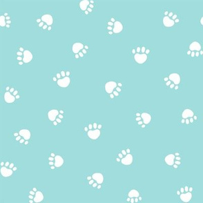 blue tint paw print fabric, pet fabric, dog fabric, cat fabric