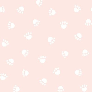 blush paw print fabric, pet fabric, dog fabric, cat fabric