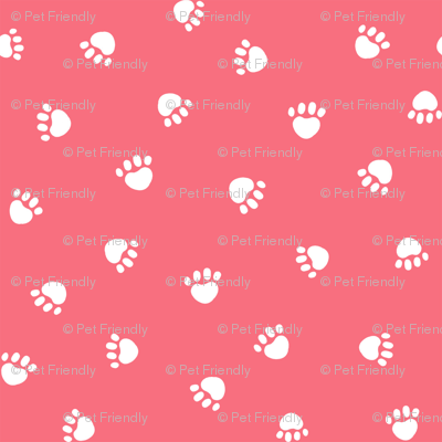 brink pink paw print fabric, pet fabric, dog fabric, cat fabric