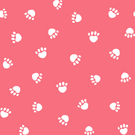brink pink paw print fabric, pet fabric, dog fabric, cat fabric fabric by petfriendly on Spoonflower - custom fabric